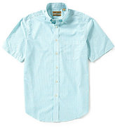 Roundtree & Yorke Gold Label Short-Sleeve Dobby Check Button-Down Collar Sportshirt