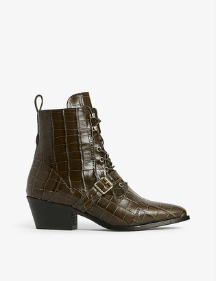 AllSaints Katy croc-effect leather ankle boots