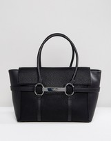 Fiorelli Barbican Foldover Black Tote Bag With Metal Bar Detail