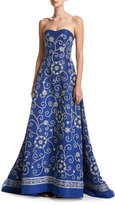 Oscar de la Renta Embroidered Strapless Silk Faille Gown, Blue