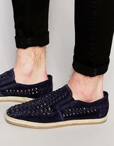 Dune Woven Slip On shoes In Navy Suede