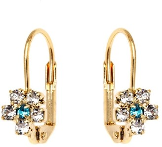 Peermont Jewelry Flower Shaped Lever Back Earrings with Blue Swarovski Elements