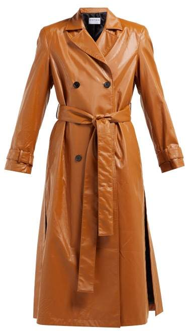 ccb3f2d5f Emme Double Breasted Faux Leather Trench Coat - Womens - Brown