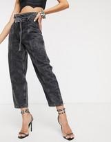 Bershka tie waist paperbag jeans in washed black