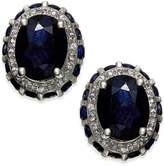 Macy's Sapphire (2 ct. t.w.) & Diamond (1/5 ct. t.w.) Oval Stud Earrings in 14k White Gold