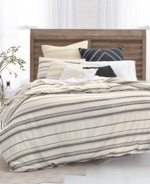 Lucky Brand Closeout! Stripe Embroidered 2-Pc. Twin Duvet Cover Set, Created for Macy's Bedding