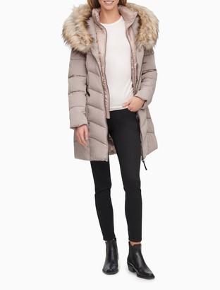 Calvin Klein Faux Fur Collar Full Zip Puffer Coat