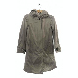 Barneys New York Grey Cotton Trench Coat for Women