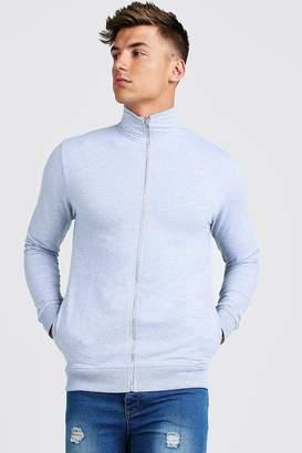 boohoo Muscle Fit Funnel Neck Zip Through Sweatshirt