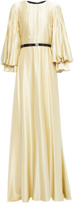 Roksanda Pleated Embellished Color-block Silk-satin Gown