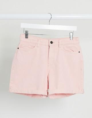 Noisy May mom denim shorts in pastel pink