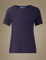 Marks and Spencer Star Print Short Sleeve Pyjama Top