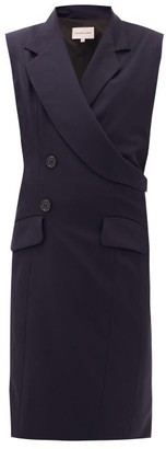 Natasha Zinko Double-breasted Sleeveless Wool Jacket - Womens - Navy