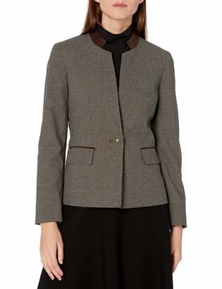 Kasper Women's Mini Houndstooth Stand Collar Jacket