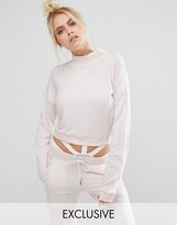 Puma Exclusive To ASOS High Neck Cropped Sweat In Pale Pink