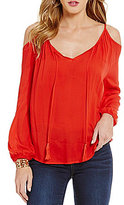 Copper Key Cold Shoulder Tie Front Blouse