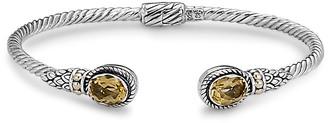 Samuel B. 18K & Sterling Silver 2.30 Ct. Tw. Citrine Twisted Cable Bangle Bracelet