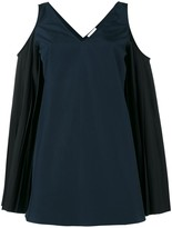 Monographie Pleated Sleeve Cold Shoulder Top