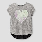 Miss Chievous Girls' Cap Sleeve Top with Sequin Heart & Back Bow - Black