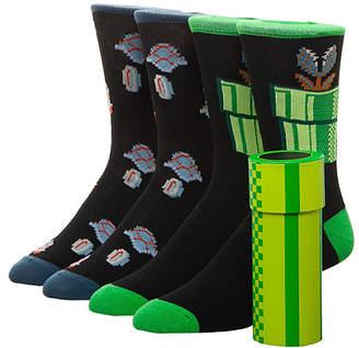 Bioworld Men's Socks - Super Mario Underworld Black Two-Pair Socks Set - Men