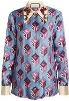 Gucci GG Wallpaper-print embellished collar silk blouse