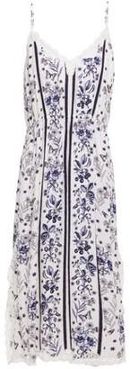 Sandro Wera Lace-trimmed Floral-print Jacquard Midi Slip Dress