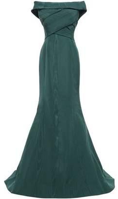 Oscar de la Renta Off-the-shoulder Pleated Cotton-blend Moire Gown