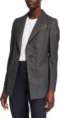 Brunello Cucinelli Wool Flannel One-Button Jacket with Pocket Square