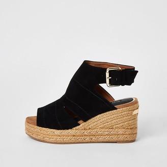 River Island Black open toe wedge sandals