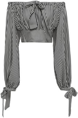 Zimmermann Cropped Off-the-shoulder Striped Twill Top
