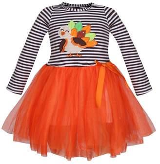 Mia Belle Baby Black & White Striped Long Sleeve Orange Tutu Skirt Dress with Turkey Applique (Toddler & Little Girls)