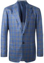 Kiton woven check blazer - men - Silk/Linen/Flax/Wool - 50
