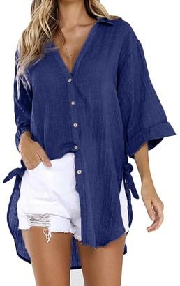 Toamen Long Sleeve Tops Women's Tops Womens Fashion Button Loose Long Sleeve Dress Cotton Ladies Casual Tops T-Shirt Blouse