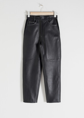 And other stories High Waisted Tapered Leather Trousers