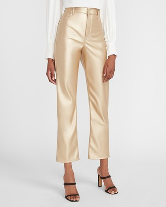 Express Super High Waisted Gold Vegan Leather Cropped Straight Pant