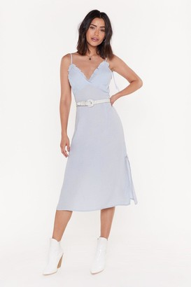 Nasty Gal Womens Time Frill Tell Ruffle Midi Dress - blue - 12