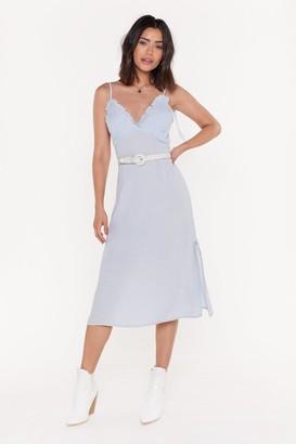 Nasty Gal Womens Time Frill Tell Ruffle Midi Dress - Blue - 6, Blue