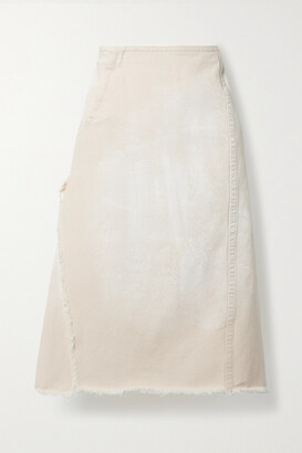 Marni - Frayed Denim Midi Skirt - Off-white