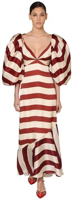 Johanna Ortiz Long Striped Silk Crepe De Chine Dress
