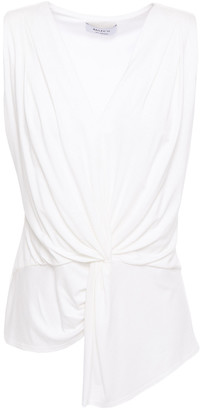 Bailey 44 Amber Asymmetric Twist-front Pleated Jersey Blouse