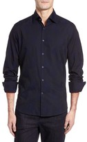 Stone Rose Men's Slim Fit Tonal Leaf Jacquard Sport Shirt