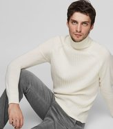 Reiss Reiss Felton - Textured Rollneck Jumper In White, Mens