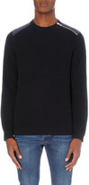 The Kooples Quilted-panel knitted jumper