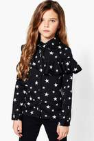 boohoo Girls Star Print Ruffle Blouse