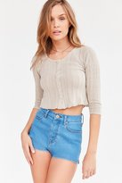 Kimchi & Blue Kimchi Blue Maisy Button-Front Thermal Cropped Top