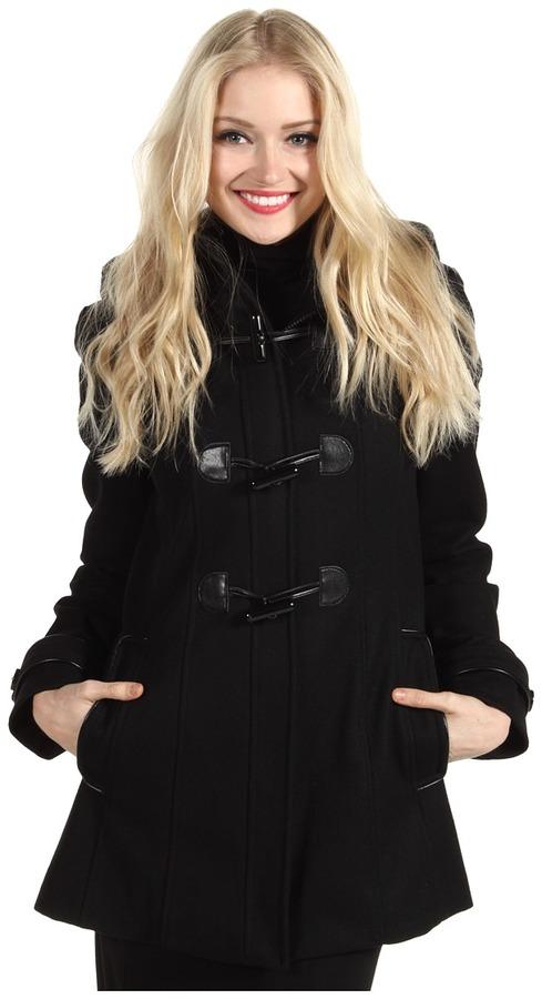Esprit Hooded Toggle Front Wool Jacket (Black) - Apparel