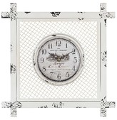 Lazy Susan 14 in. Distressed White Wall Clock