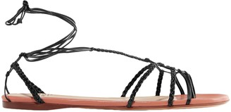 Francesco Russo Lace-up Knotted Braided Leather Sandals