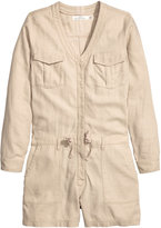 H&M Linen-blend Jumpsuit - Light beige - Ladies