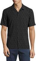 Neiman Marcus Neat-Print Short-Sleeve Shirt, Black
